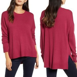 NWT Chelsea28 Burgundy Berry Hi-Low Crew Sweater